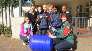 Water Explorers with their hippo roller they fund raised for and the Gift of the Givers