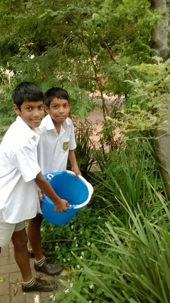 VPS water watchers at work saving air con water for the indigenous water-wise gardens