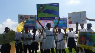 Shri Vishnu DUCT Eco-Club Children demonstrate their stance against fracking in the midlands