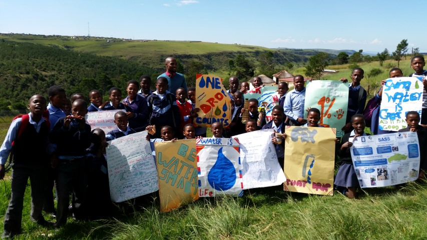Grade 7 class displays their water saving pledges