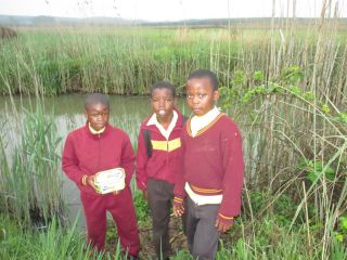 Nzuzo, Linda and Ntando at our local river (Mdeza),  learning about water safety